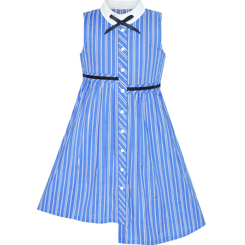 Girls Dress School Uniform Asymmetric Striped Shirt Dress Size 7-14 Years