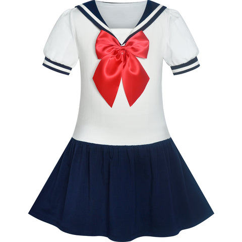 Girls Dress Sailor Moon Cosplay School Uniform Size 6-12 Years