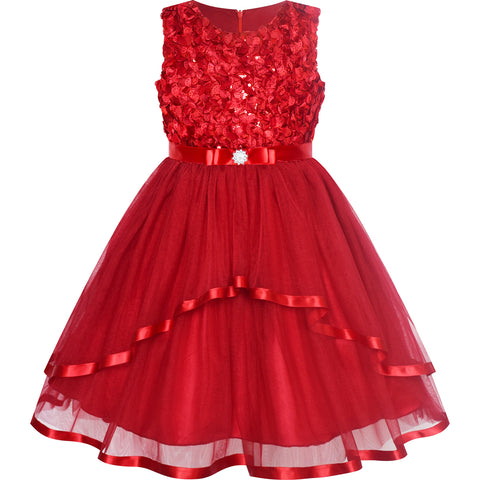 Flower Girls Dress Date Red Belted Wedding Party Bridesmaid Size 4-12 Years