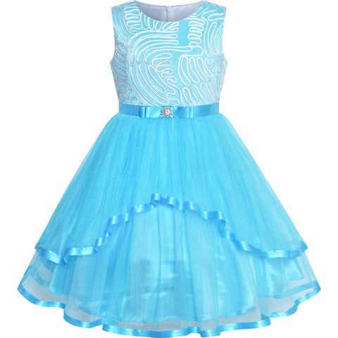 Flower Girls Dress Sky Blue Belted Wedding Party Bridesmaid Size 4-12 Years