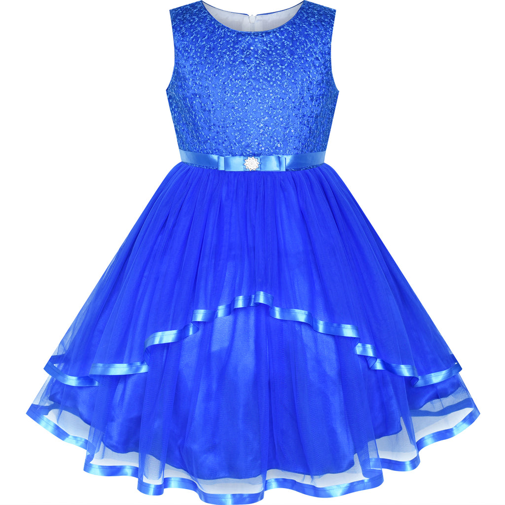 Flower Girls Dress Cobalt Blue Belted Wedding Party Bridesmaid Size 4-12 Years