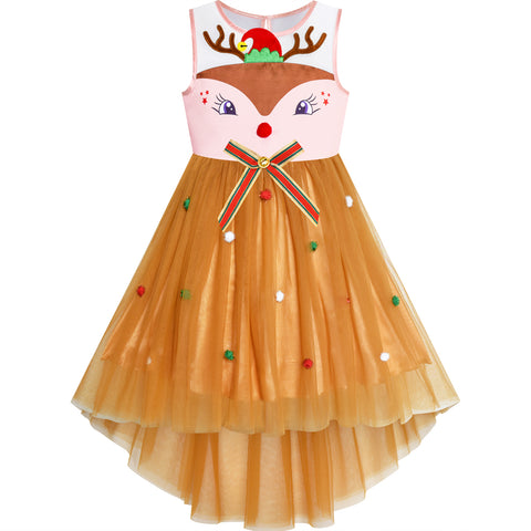 Girls Dress Reindeer Christmas Hat Jingle Bell Holiday Party Size 4-10 Years