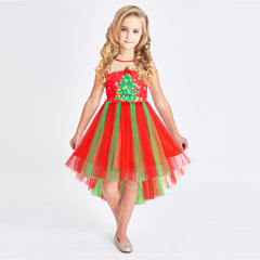Girls Dress Christmas Tree New Year Holiday Party Dress Size 4-10 Years