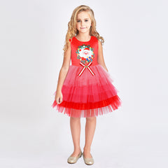 Girls Dress Christmas Santa Holiday New Year Party Size 3-8 Years