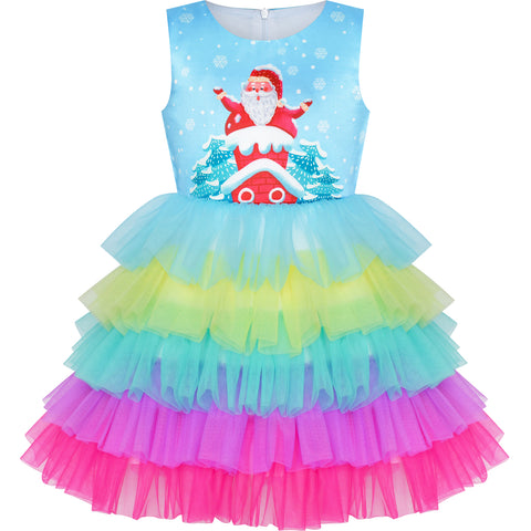 Girls Dress Christmas Santa Chimney Holiday New Year Party Size 3-8 Years
