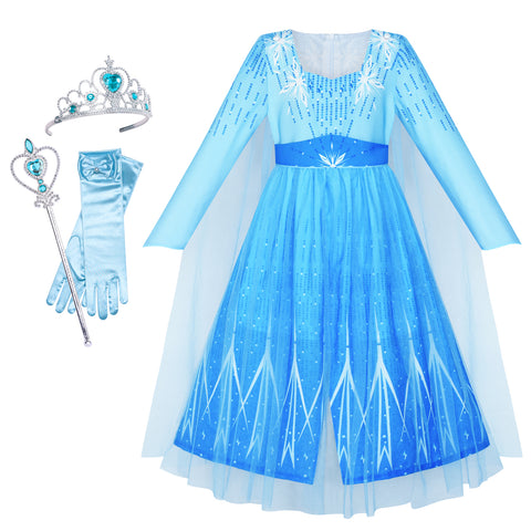 Girls Dress Snow Queen Ice Snowflake Crown Wand Princess Costume Size 4-12 Years