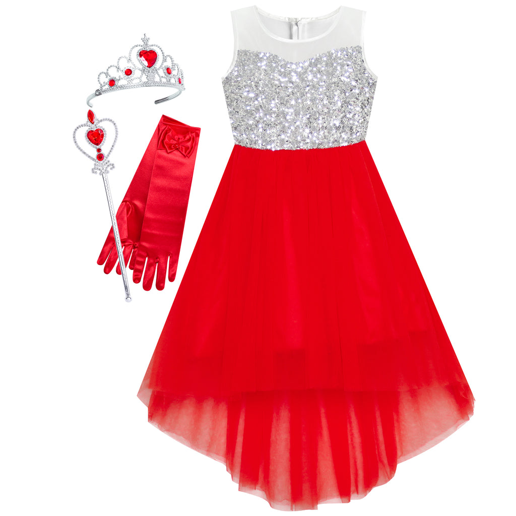 Girls Dress Red Hi-low Magic Wand Princess Crown Dress Up Costume Size 7-14 Years