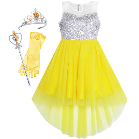 Girls Dress Yellow Hi-low Magic Wand Princess Crown Dress Up Costume Size 7-14 Years