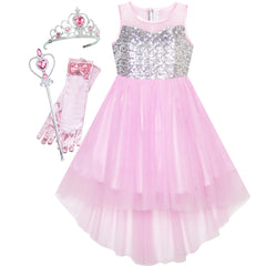 Girls Dress Pink Magic Hi-low Wand Princess Crown Dress Up Costume Size 7-14 Years