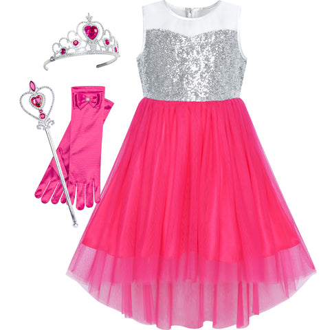 Flower Girls Dress Dark Pink Hi-low Princess Crown Dress Up Size 7-14 Years