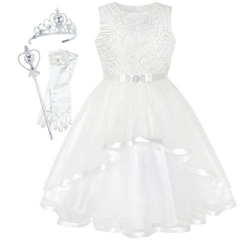 Flower Girls Dress Off-White Princess Crown Dress Up Party  Size 4-12 Years