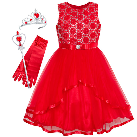 Flower Girls Dress Red Princess Crown Dress Up Party  Size 4-12 Years