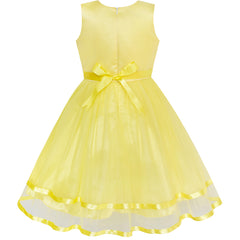 Flower Girls Dress Yellow Princess Crown Dress Up Party  Size 4-12 Years