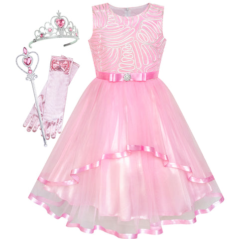 Flower Girls Dress Pink Princess Crown Dress Up Party  Size 4-12 Years