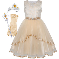 Flower Girls Dress Beige Princess Crown Dress Up Party  Size 4-12 Years