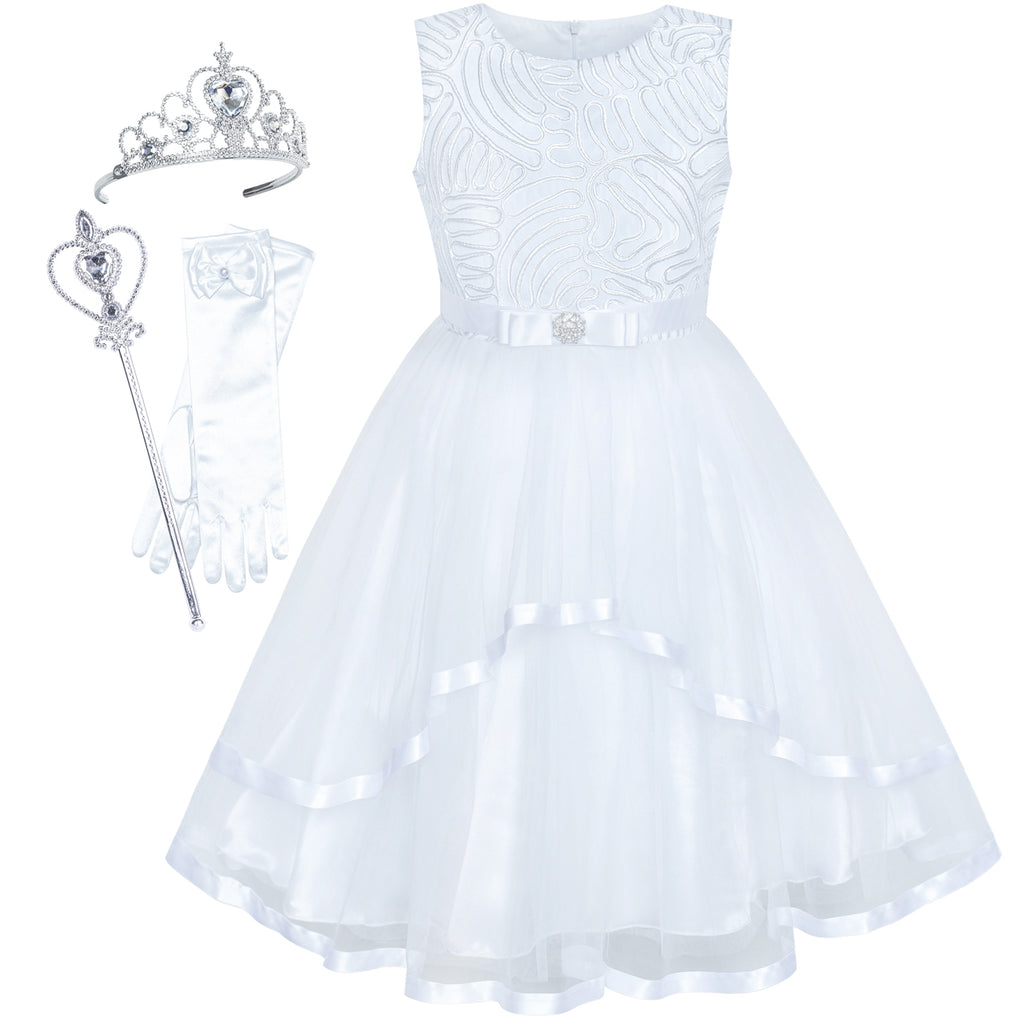 Flower Girls Dress White Princess Crown Dress Up Party  Size 4-12 Years