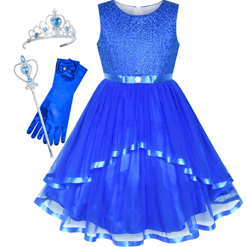 Flower Girls Dress Cobalt Blue Princess Crown Dress Up Party  Size 4-12 Years