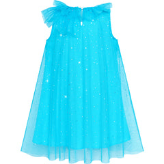 Girls Dress Ice Blue Tulle Ruffle Princess Crown Fairy Wand Clips Size 4-8 Years