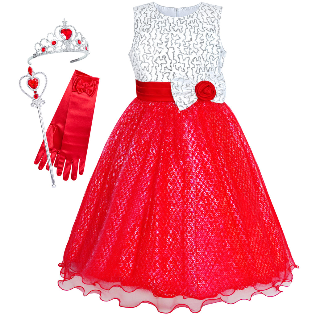 Girls Dress Red Sequin Crown Gloves Bridesmaid Wedding Pageant Size 4-14 Years