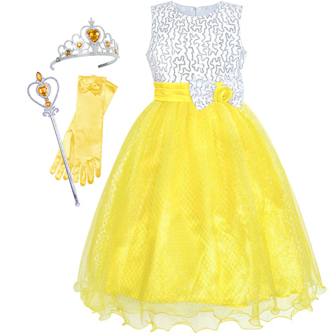 Girls Dress Yellow Sequin Crown Gloves Bridesmaid Wedding Pageant Size 4-14 Years