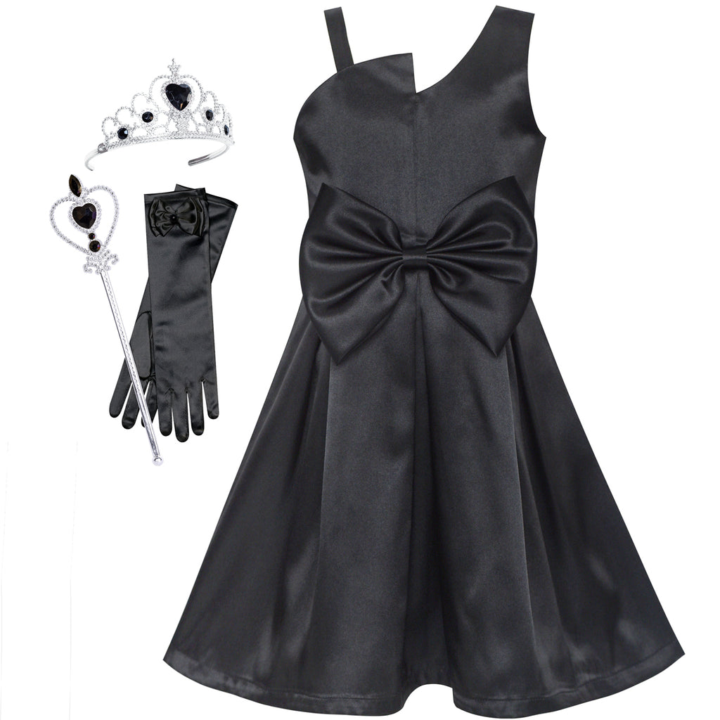 Girls Dress Black Satin One-Shoulder Crown Gloves Party Costume Size 6-12 Years