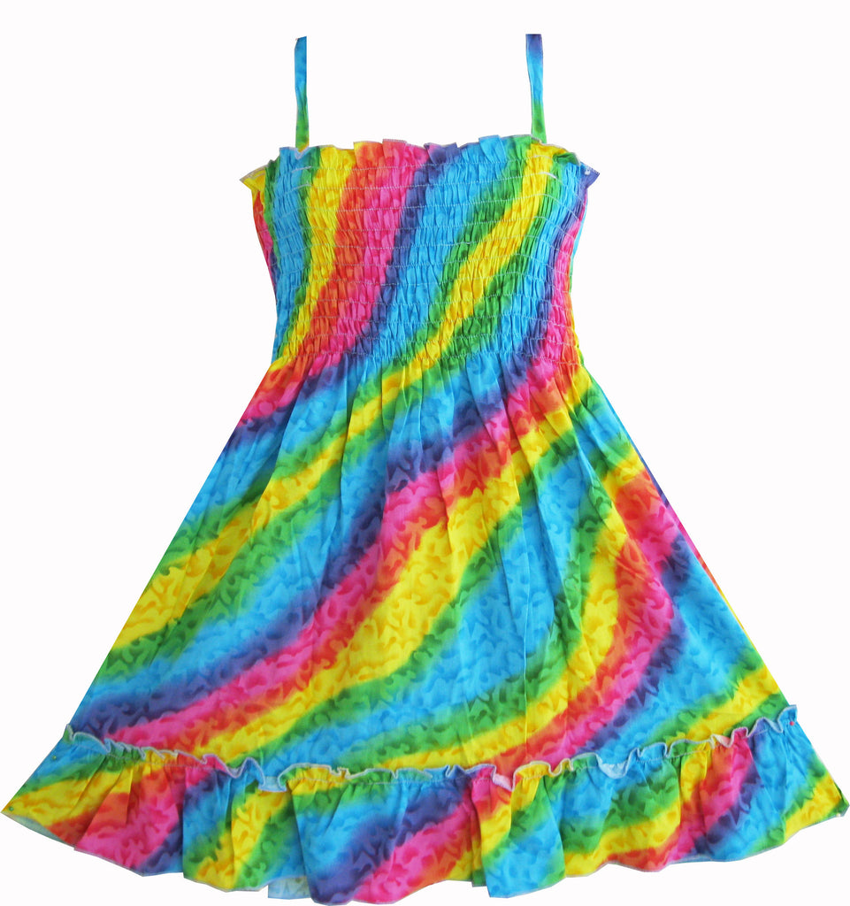 Girls Dress Rainbow Smocked Halter