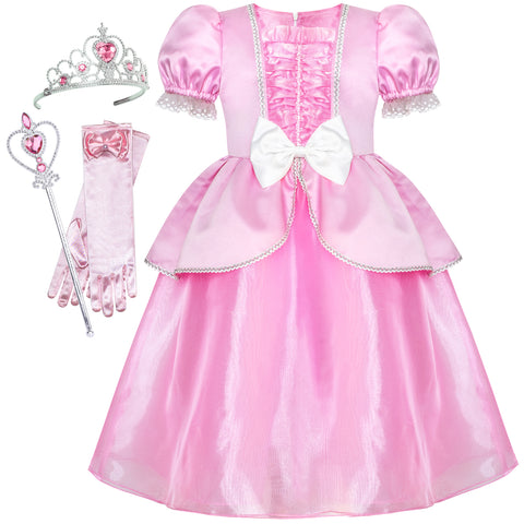 Girls Dress Pink Princess Crown Magic Wand Cosplay Dress Up Size 6-12 Years