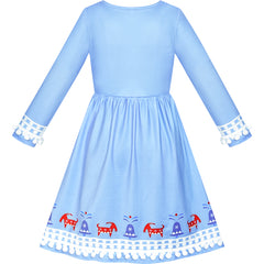 Princess Dress Costume Ice Blue Snow Queen Cosplay Size 4-8 Years