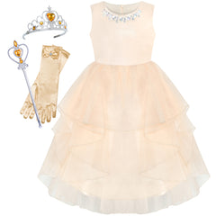 Flower Girls Dress Beige Wedding Pageant Magic Wand Crown Size 5-12 Years