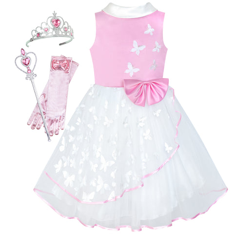 Girls Dress Princess Cosplay Butterfly Magic Wand Tiara Size 6-12 Years