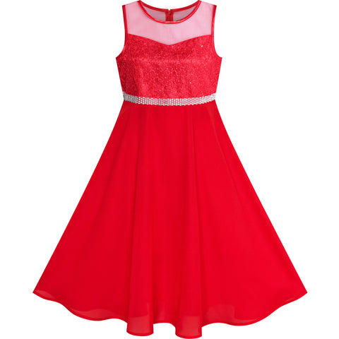 Girls Dress Rhinestone Chiffon Dance Ball Maxi Gown Size 6-14 Years