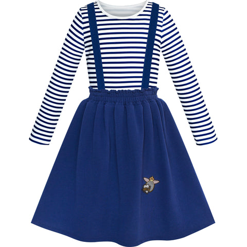 2 Pieces Girls Dress T-Shirt Suspender Skirt School Uniform Size 4-12 Years