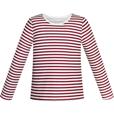 Girls Tee Red Wine Stripe T-shirt Size 4-12 Years