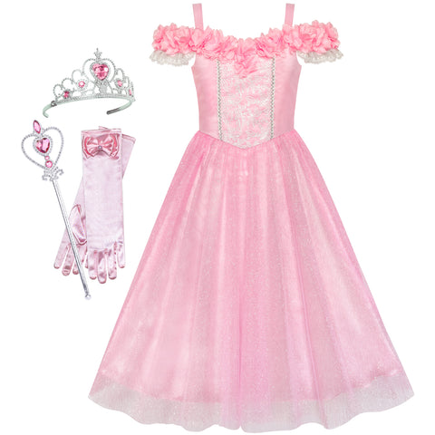 Girls Dress Cold Shoulder Princess Cosplay Crown Wand Size 6-12 Years