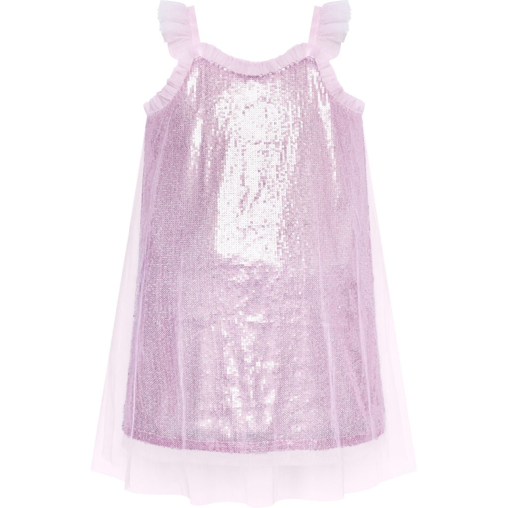 Girl Dress Sparkling Sequin Tulle Party Dress Size 4-8 Years
