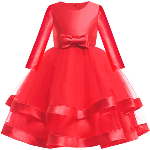 Girls Dress Long Sleeve Red Ball Gown Wedding Party Pageant Size 6-12 Years