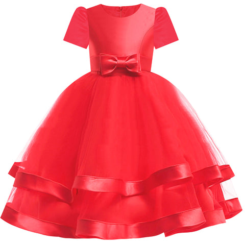 Girls Dress Short Sleeve Red Ball Gown Wedding Party Pageant Size 6-12 Years