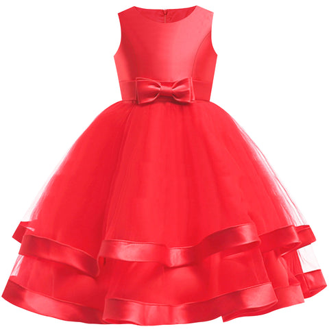 Girls Dress Sleeveless Red Ball Gown Wedding Party Pageant Size 6-12 Years