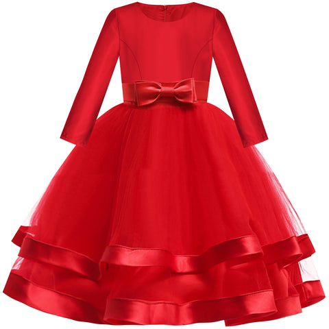Girls Dress Long Sleeve Burgundy Ball Gown Wedding Party Pageant Size 6-12 Years
