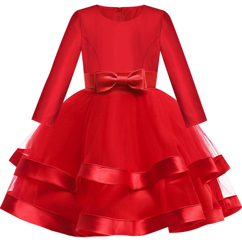 Girls Dress Burgundy Ball Gown Wedding Party Pageant Size 6-12 Years