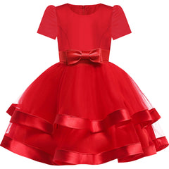 Girls Dress Short Sleeve Burgundy Ball Gown Wedding Party Pageant Size 6-12 Years