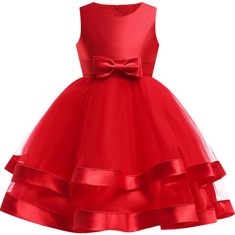 Girls Dress Sleeveless Burgundy Ball Gown Wedding Party Pageant Size 6-12 Years