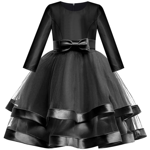 Girls Dress Long Sleeve Black Ball Gown Wedding Party Pageant Size 6-12 Years