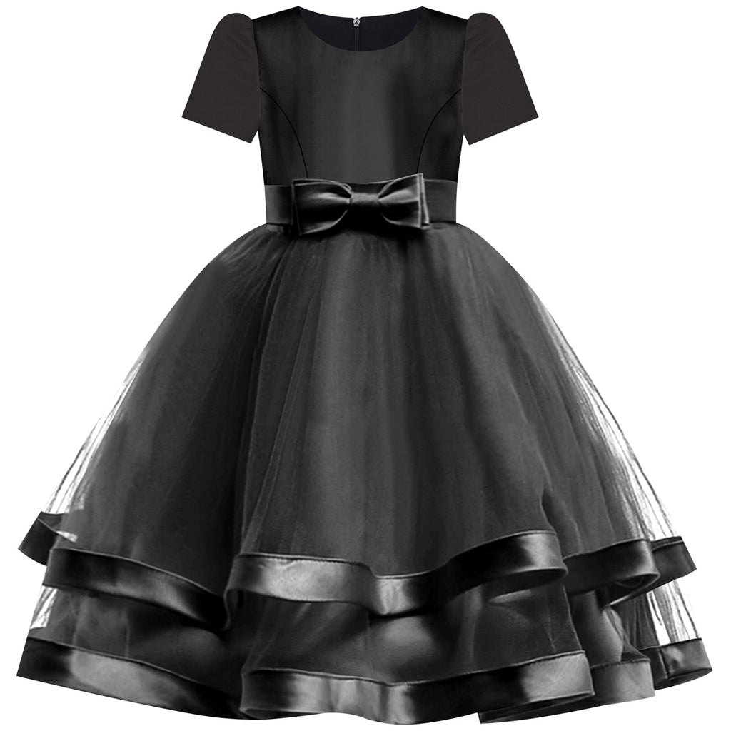 Girls Dress Short Sleeve Black Ball Gown Wedding Party Pageant Size 6-12 Years