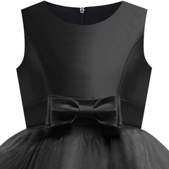 Girls Dress Sleeveless Black Ball Gown Wedding Party Pageant Size 6-12 Years