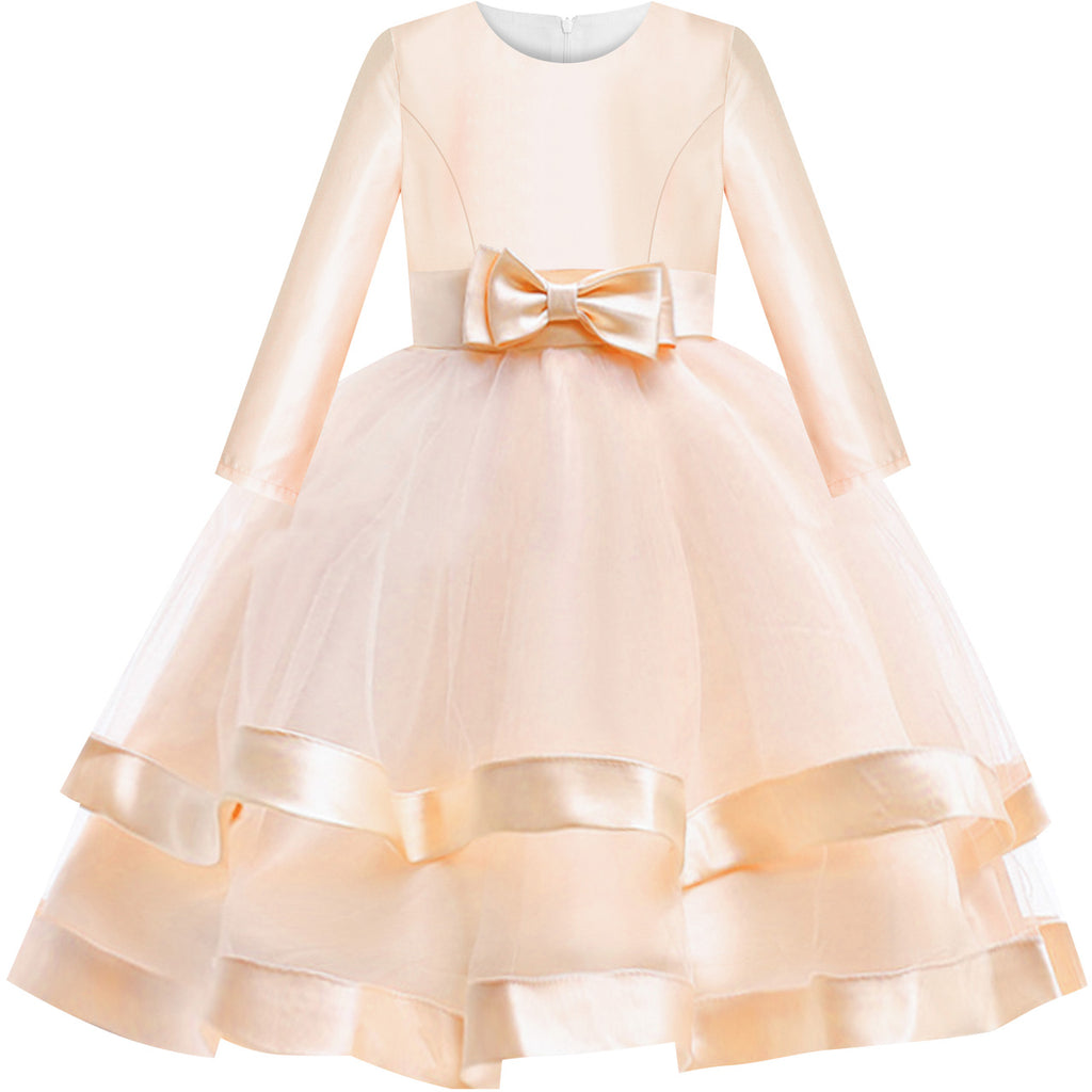 Girls Dress Long Sleeve Champagne Ball Gown Wedding Party Pageant Size 6-12 Years