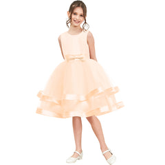 Girls Dress Sleeveless Champagne Ball Gown Wedding Party Pageant Size 6-12 Years