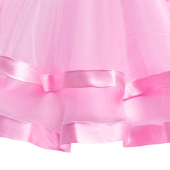 Girls Dress Long Sleeve Pink Ball Gown Wedding Party Pageant Size 6-12 Years