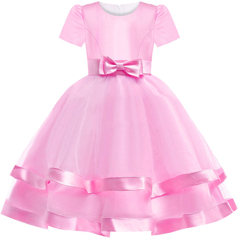 Girls Dress Short Sleeve Pink Ball Gown Wedding Party Pageant Size 6-12 Years