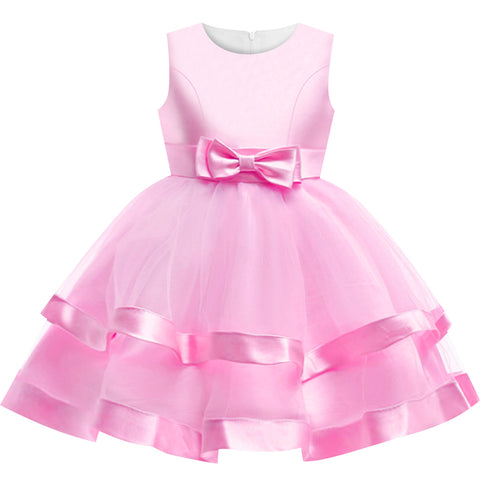 Girls Dress Sleeveless Pink Ball Gown Wedding Party Pageant Size 6-12 Years